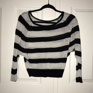 NWOT AEO Black and White Stripe Batwing Sweater